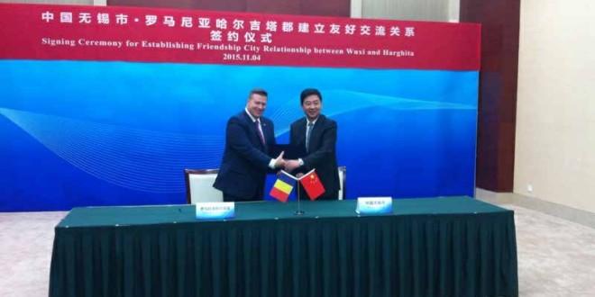 Acord de cooperare semnat între judeţul Harghita şi oraşul Wuxi, China