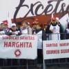 Sindicaliștii Sanitas Harghita protestează în fața Ministerului Sănătății