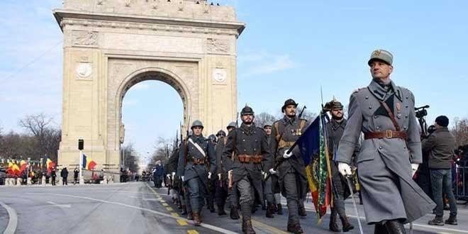 <h5><i>Bucureşti, Arcul de Triumf:</i></h5>Sărbătorirea Centenarului intrării Armatei Române în Budapesta şi al eliberării Ungariei de regimul bolşevic