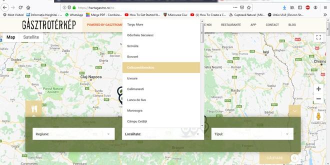 O hartă gastronomică a ţinutului secuiesc cu Sighişoara, dar fără nordul judeţului Harghita