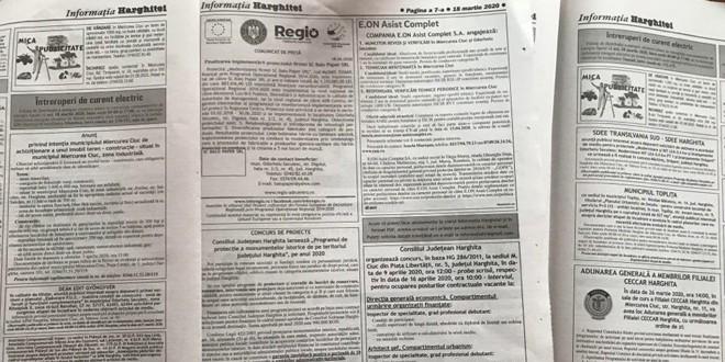 Publicitatea pentru <i>Informaţia Harghitei</i> se va prelua prioritar on-line