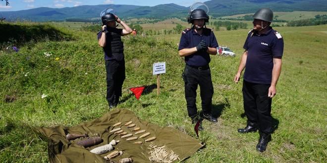 Misiune de distrugere controlată a muniţiei neexplodată descoperită în ultimele trei luni în judeţ