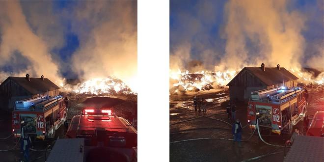 <h5><i>Cetățuia, comuna Sânsimion</i></h5> Un incendiu care a cuprins baloți de fân se manifestă pe o suprafață de aproximativ 1.000 de metri pătrați