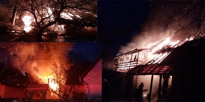 Zeci de pompieri militari și civili au intervenit pentru stingerea unui puternic incendiu izbucnit la o casă de locuit