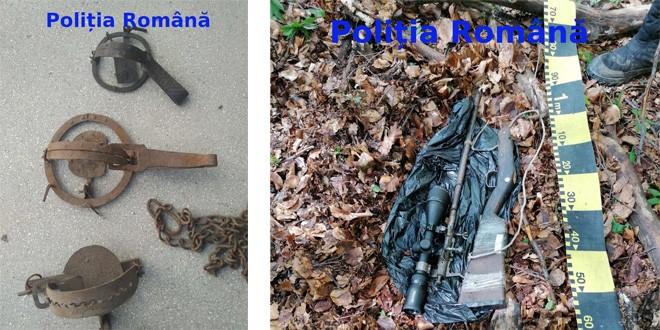 O armă cu lunetă, aproape 50 de cartuşe şi aproximativ 60 kg de vânat, confiscate de la doi braconieri