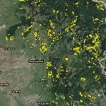 suprafeţe cu tăieri rase din Estul depresiunii şi localităţii Gheorgheni