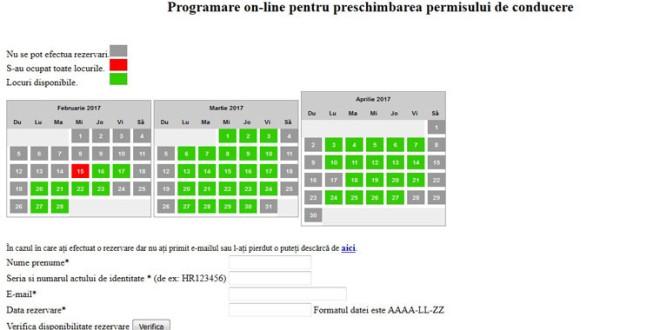 Programări online pentru preschimbarea permisului de conducere