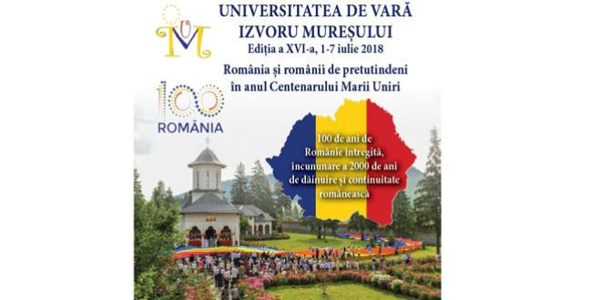 Tema celei de-a XVI-a ediţii a Universităţii de Vară Izvoru Mureşului, 1-7 iulie 2018: România şi românii de pretutindeni, în anul Centenarului Marii Uniri