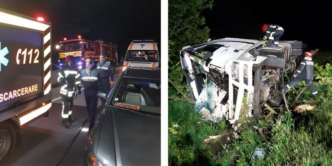 <h5><i>Luni seara, la ieșirea din Miercurea Ciuc:</i></h5> Scurgeri de carburant pe carosabil după ce s-a răsturnat un autocamion – imagini video
